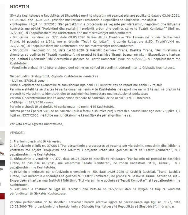 """Në foto: Njoftimi i Gjykatës Kushtetuese për """"Teatrin Kombëtar"""""""