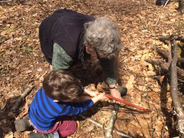 Thomas sawing wood