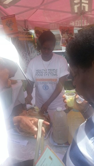 Ministry of Agriculture and FAO passing out mini meals and cookbooks (for sale)--This was avocado sorbet--yum!!