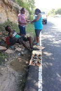 Buying fresh wilks from the street vendor