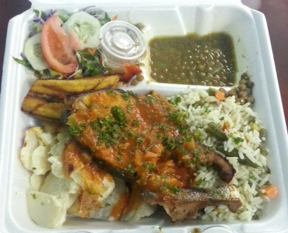 Dorado/dolphin (mahi mahi), rice, ground provisions, salad, lentils