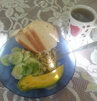saltfish, cucumbers, avocado, bread