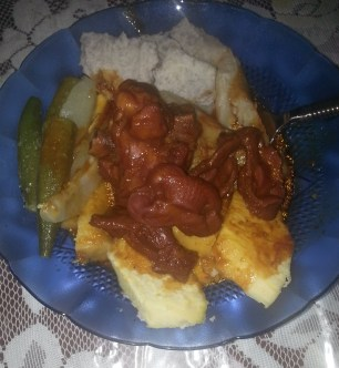 chicken gizards, okra, and ground provisions