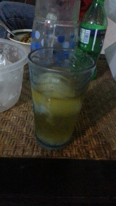 Rum or whiskey and coconut water with the jelly
