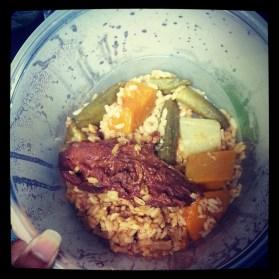 chicken back, christophine, pumpkin, okra, rice