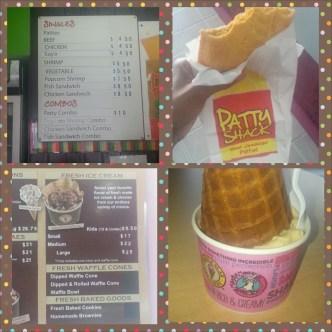 Chicken patty and coffee ice cream