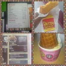 chicken patty and coffee ice cream!