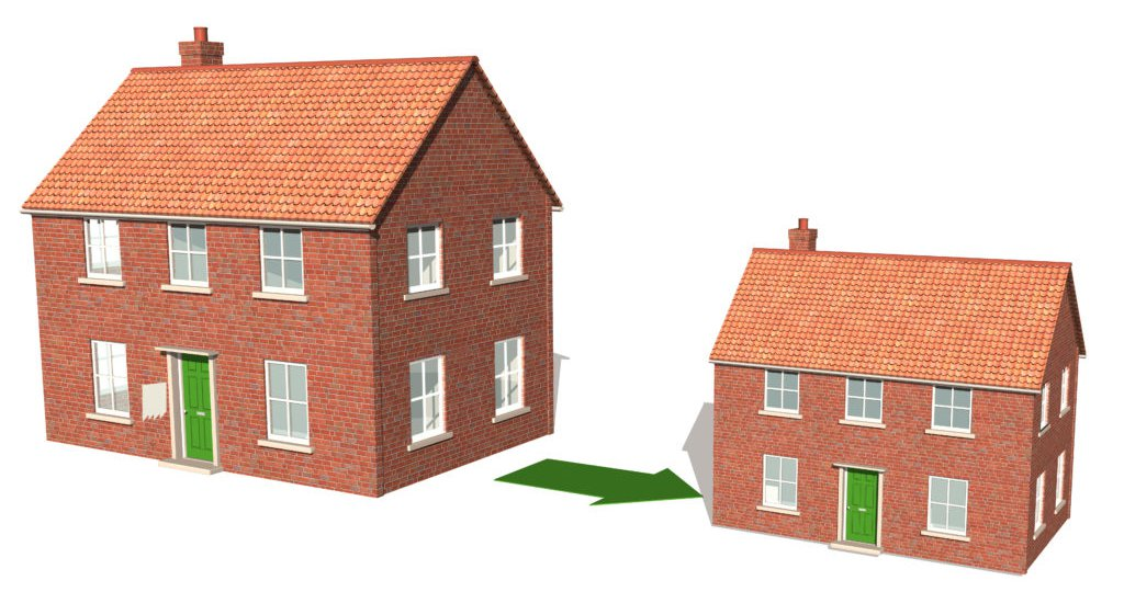 Downsizing, 3D render of reducing house size 1