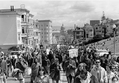 Anti-Vietnam war demonstrators fill Fulton Street in San Francisco on April 15, 1967. The five-mile march through the city will end with a peace rally at Kezar Stadium. In the background is San Francisco City Hall. (AP Photo)
