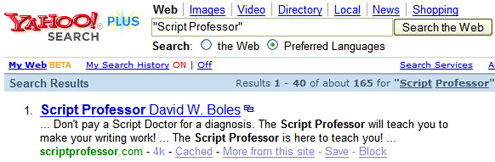 Script Professor Search Return for Yahoo!