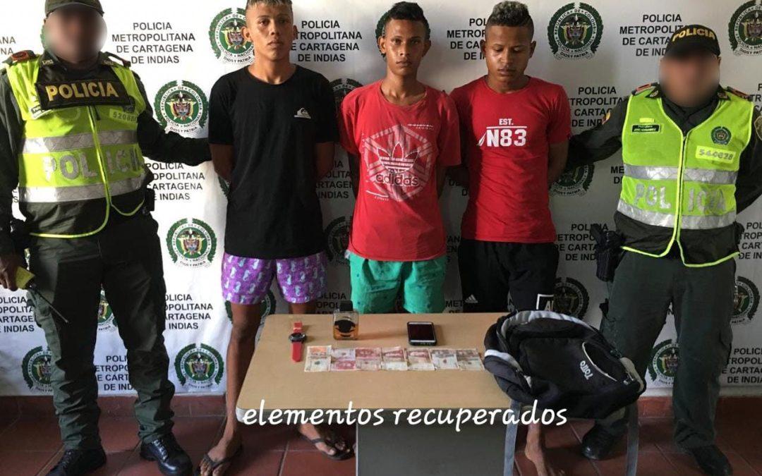 Tres delincuentes capturados en flagrancia en Turbaco