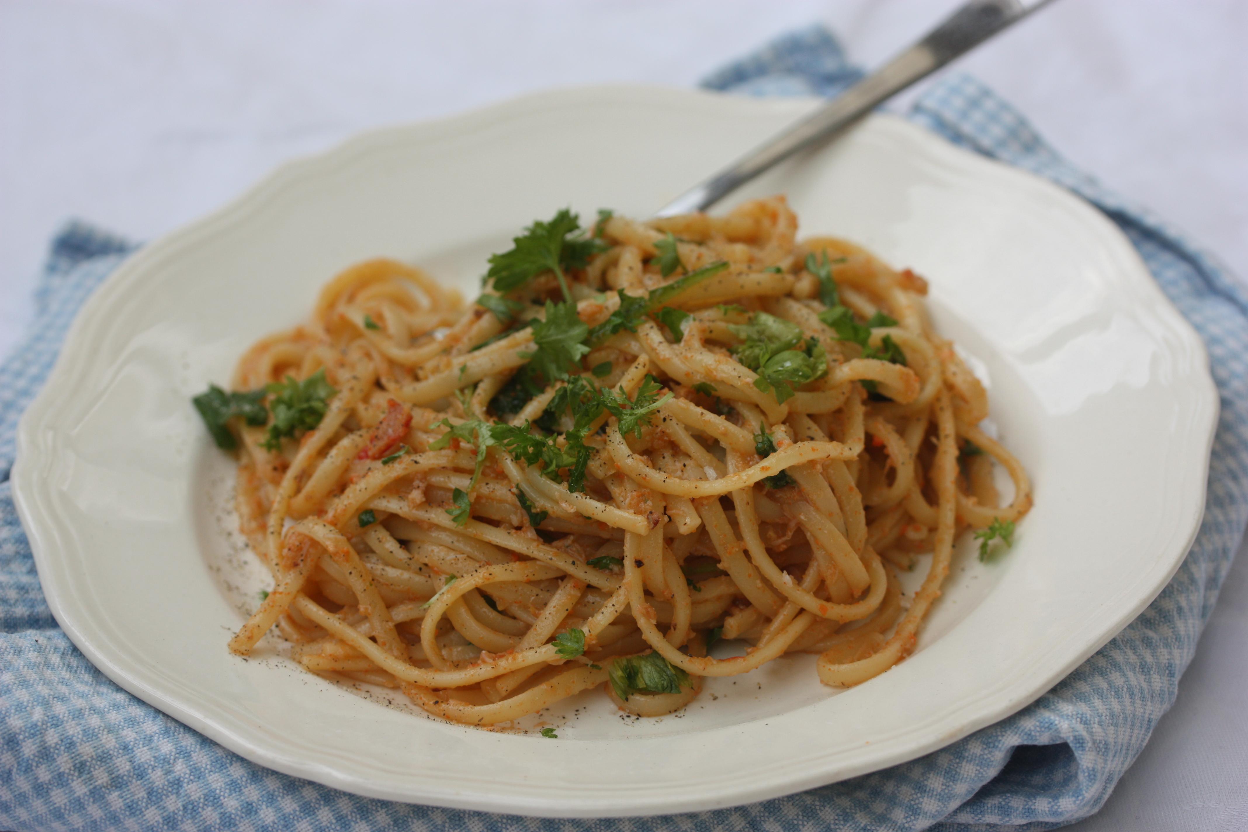 krabbe pasta oppskrift