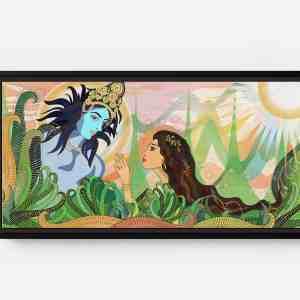 Rani Amazed by Kishna Long Horizontal Matte Framed Canvas Wall Art