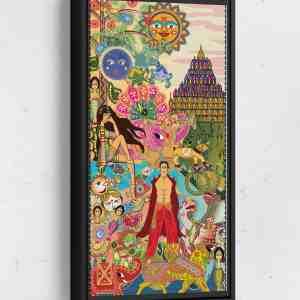 BollyWorld Page 1 Long Vertical Matte Framed Canvas Wall Art