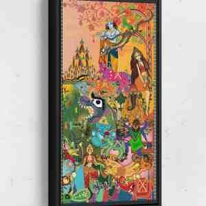 BollyWorld Page 2 Long Vertical Matte Framed Canvas Wall Art