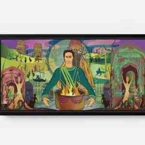 Daman and Tamir Conspiring Long Horizontal Matte Framed Canvas Wall Art