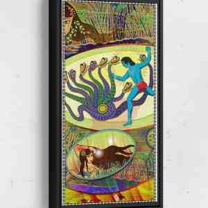Krishna defeats serpent Long Vertical Matte Framed Canvas Wall Art