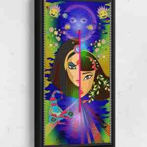 Split Faces Long Vertical Matte Framed Canvas Wall Art