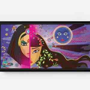 Split Faces Long Horizontal Matte Framed Canvas Wall Art