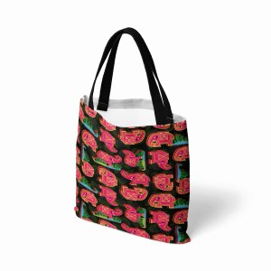 Pink Elephant on Black Leaves Canvas Tote Bag