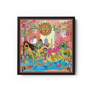 Rani With Animals Square Canvas Wall Art