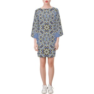 Falling Angels Feathers Blue Bell Sleeve Dress