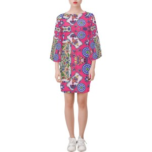 Fish Frame Coral Pattern Bell Sleeve Dress