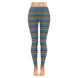 People Blue and Yellow Low Rise Leggings