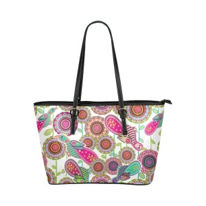 Birds of Cosmic Love Leather Tote Bag