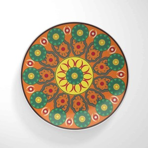 Flower Wheels Orange Base Dinnerware Plate