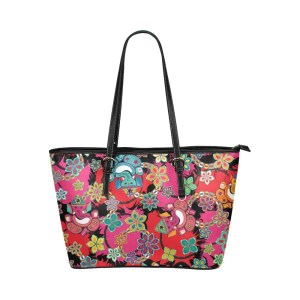 Ganesh With Lotus Flower Leather Tote Bag