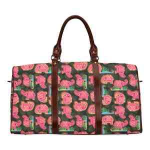 Pink Elephant on Black Leaves Travel Bag