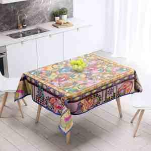 Ganesh Print Blue and Pink Table Cloth