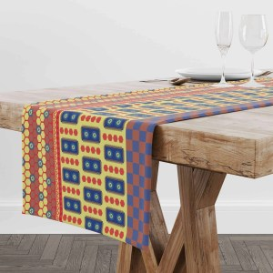 Indian Square Bubble Main Print Table Runner