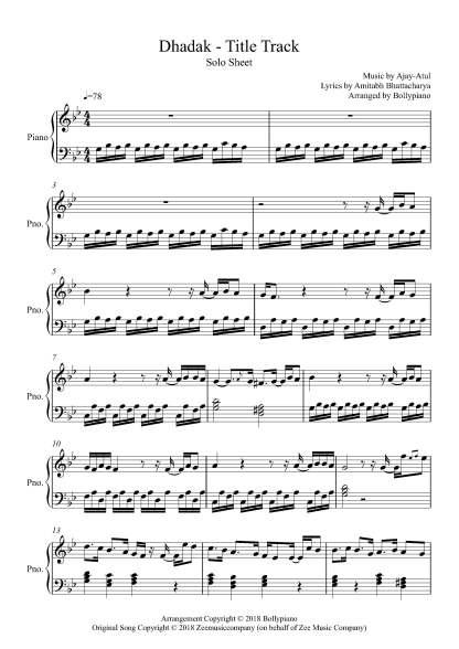 Dhadak - Title Track piano notes