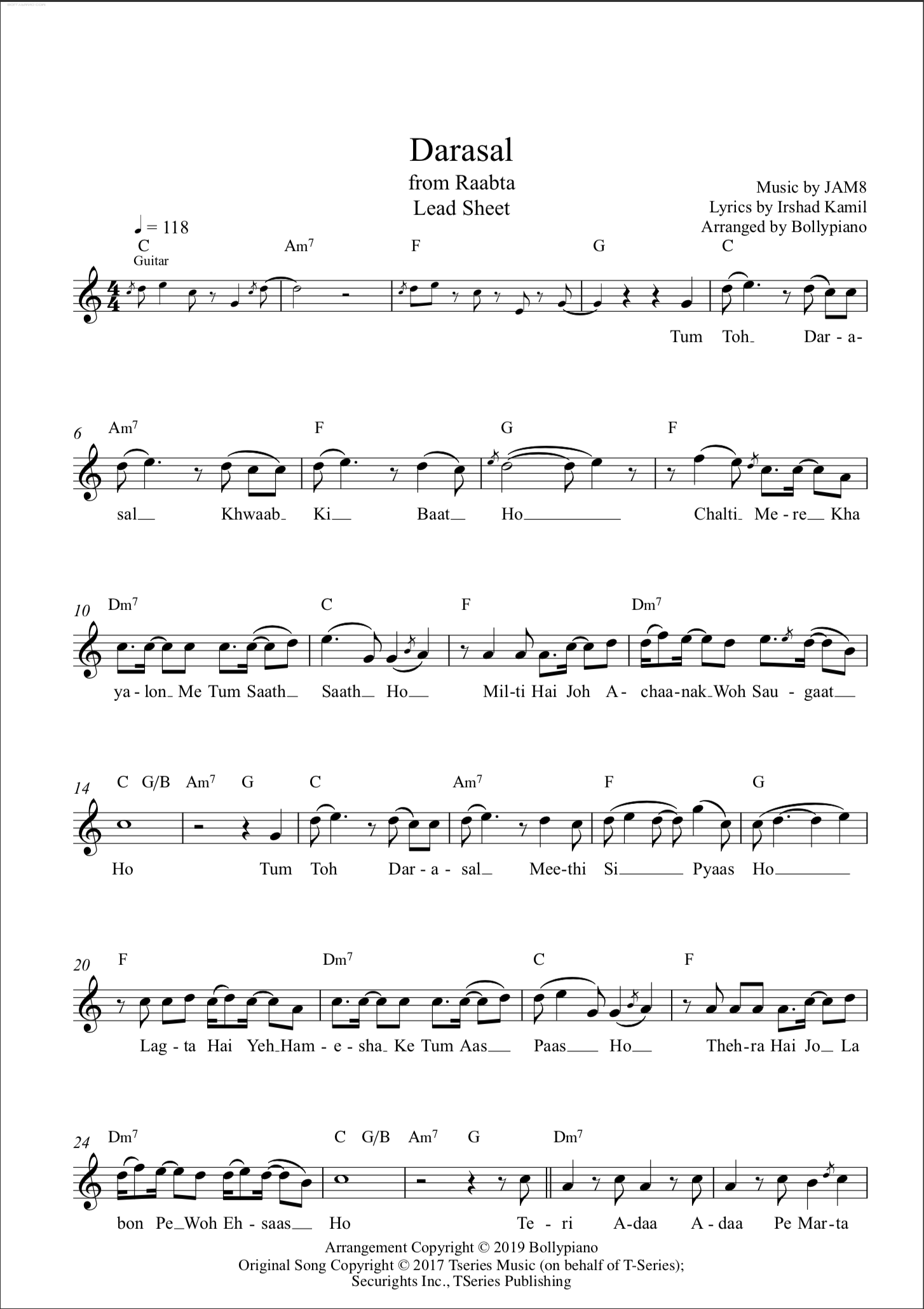 Darasal Flute Violin Notes Lead Sheet Music Pdf This song is a soothing number beautifully sung by arijit singh and the music is by sharib & toshi. darasal flute violin notes lead sheet music pdf