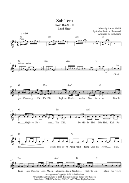 Sab Tera flute / violin notes