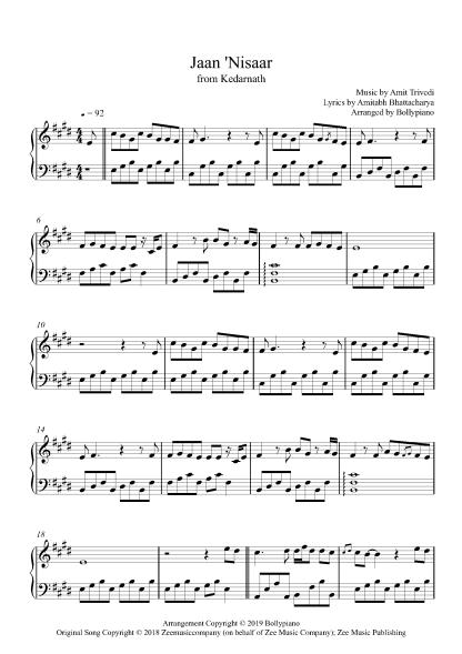 Jaan 'Nisaar piano notes