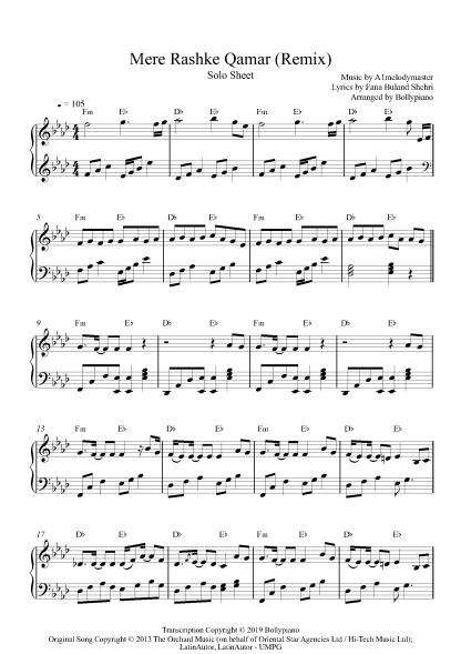 Mere Rashke Qamar (Remix) Solo Sheet piano notes