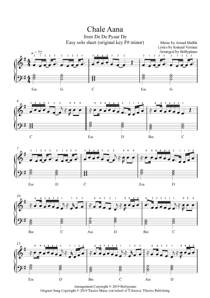 Chale Aana - De De Pyaar De (Easy) piano notes