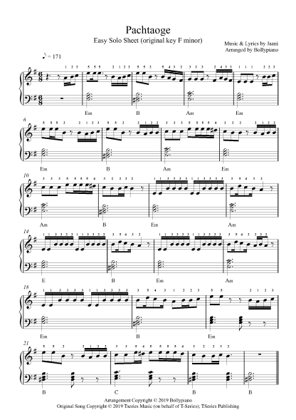 Pachtaoge Easy Piano Notes