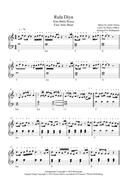 Rula Diya - Batla House (Easy) Piano Notes