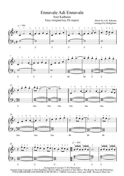 Ennavale Adi Ennavale - Kadhalan Easy Piano Notes