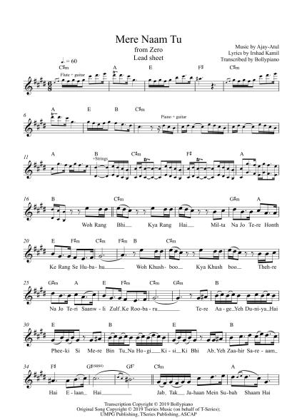 Mere Naam Tu - Zero flute / violin notes
