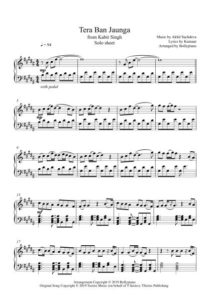 Tera Ban Jaunga - Kabir Singh piano notes