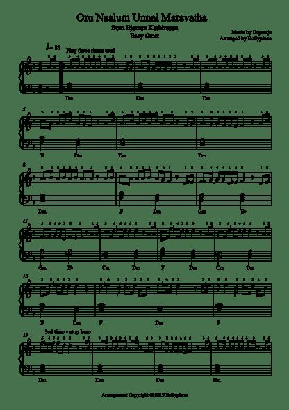 Oru Naalum Unnai Maravatha Easy Piano Notes