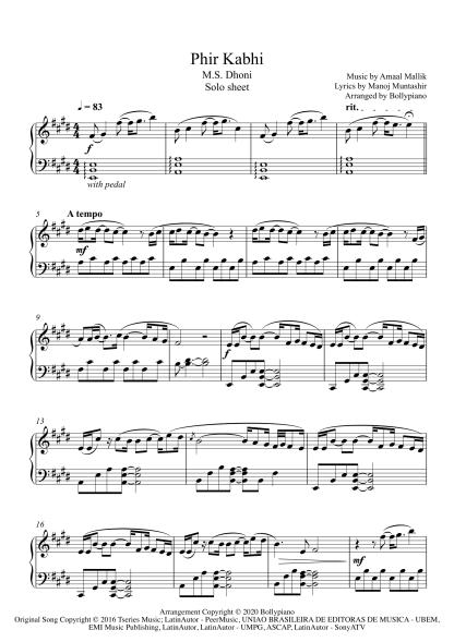 Phir Kabhi - MS Dhoni piano notes