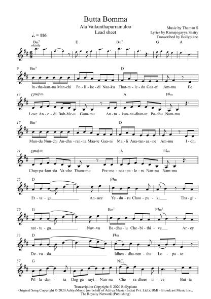 Butta Bomma - Ala Vaikunthapurramuloo flute / violin notes