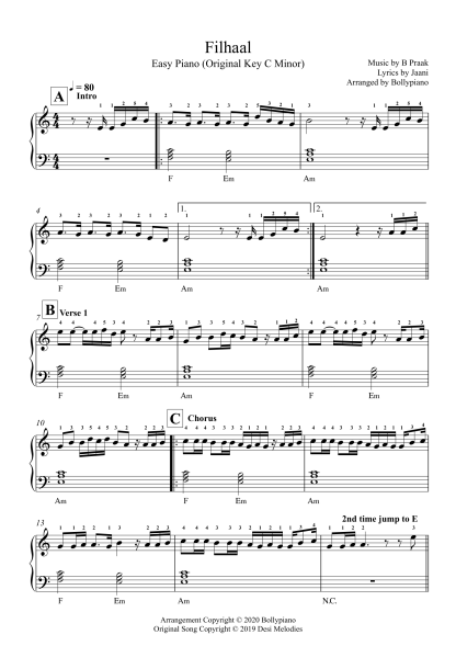 Filhall - B Praak easy piano notes