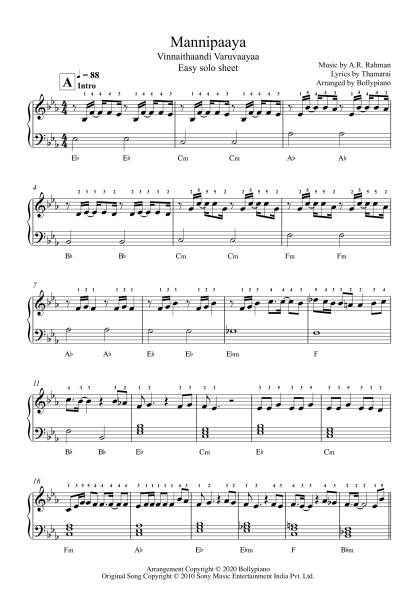 Mannipaaya - Vinnaithaandi Varuvaayaa easy piano notes